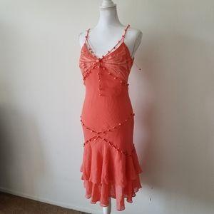 Gorgeous Sue Wong 100% silk Button V-neck Dress